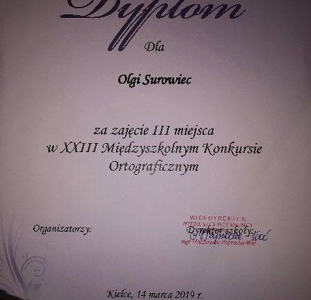 Dyplom Olgi
